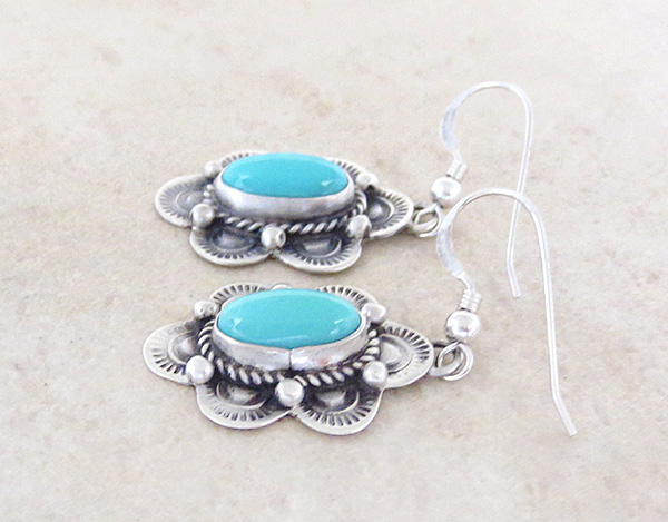Image 1 of     Turquoise & Sterling Silver Earrings Native American Made - 4821sw