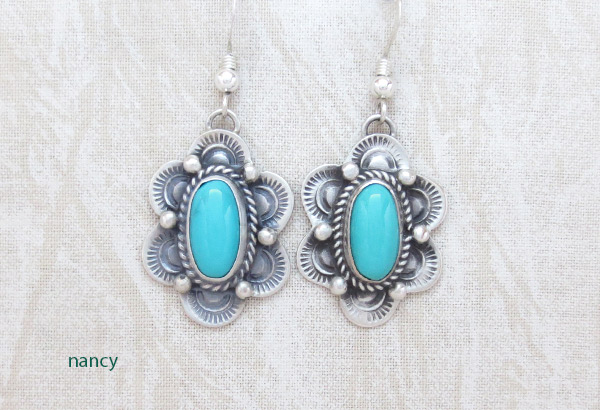 Image 0 of    Turquoise & Sterling Silver Earrings Native American Made - 4821sw