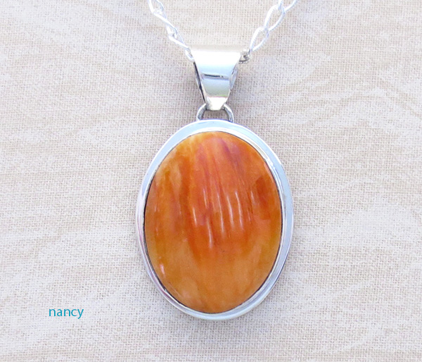 Native American Made Orange Spiny Oyster & Sterling Silver Pendant  - 4523sn