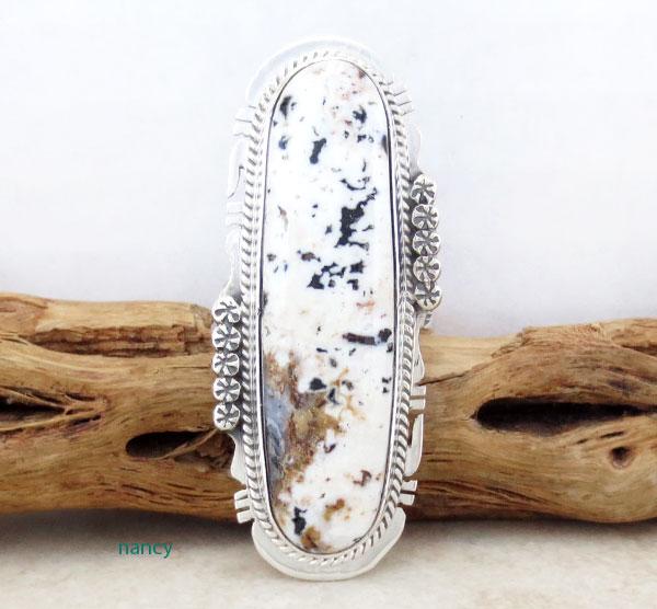 BIG Sacred White Buffalo Stone Ring Size 10 Navajo Made - 4617sn