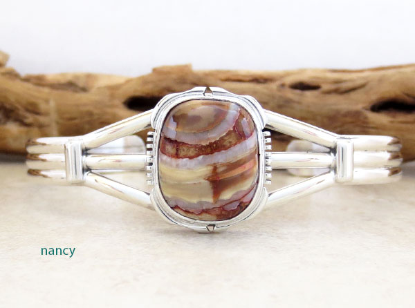 Image 0 of Ancient Mammoth Tooth Stone & Sterling Silver Bracelet Native America - 3368sn