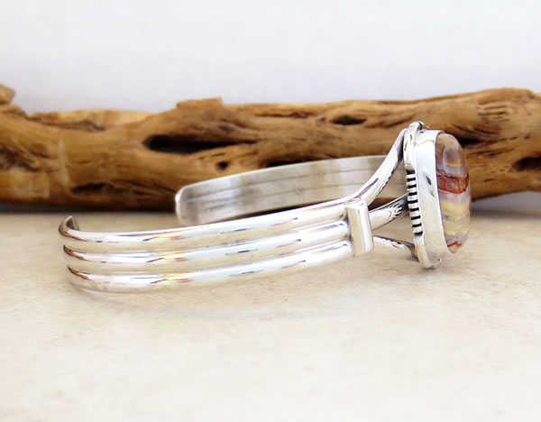 Image 2 of Ancient Mammoth Tooth Stone & Sterling Silver Bracelet Native America - 3368sn