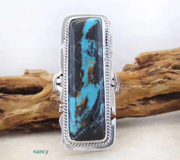 Sunnyside Turquoise & Sterling Silver Ring Size 8 Native American Made - 1590sn