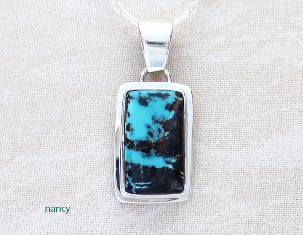 Little Sunnyside Turquoise & Sterling Silver Pendant Navajo made - 1568sn