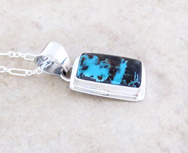 Image 2 of        Little Sunnyside Turquoise & Sterling Silver Pendant Navajo made - 1568sn