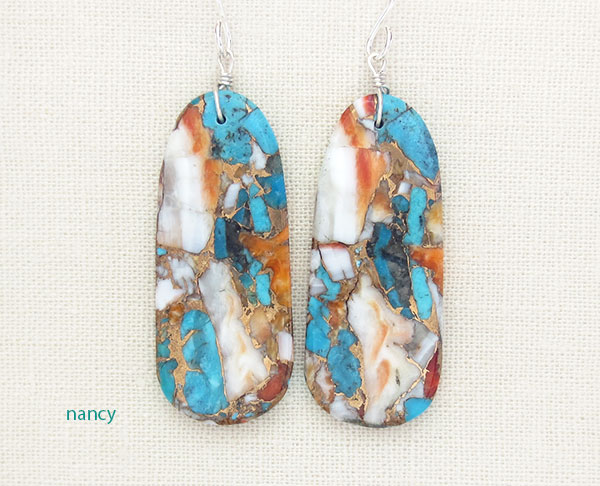 Image 0 of       Mosaic Turquoise & Spiny Oyster Slab Earrings Ronald Chavez Kewa - 4619pl