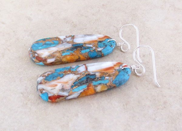 Image 1 of       Mosaic Turquoise & Spiny Oyster Slab Earrings Ronald Chavez Kewa - 4619pl