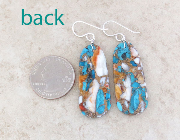 Image 2 of       Mosaic Turquoise & Spiny Oyster Slab Earrings Ronald Chavez Kewa - 4619pl