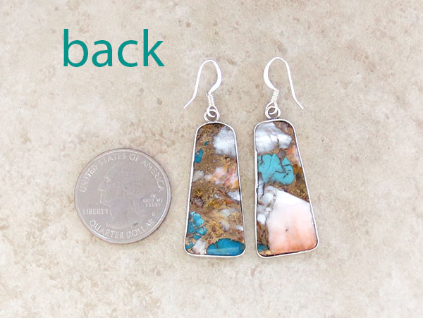 Image 2 of       Mosaic Turquoise & Sterling Silver Earrings Kewa Made - 4716pl