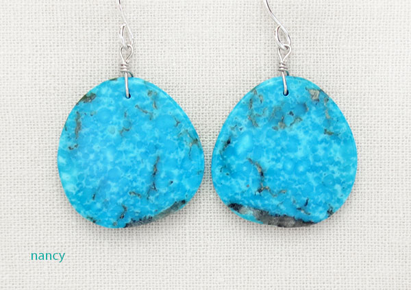 Native American Made Turquoise Slab Earrings - 4532pl