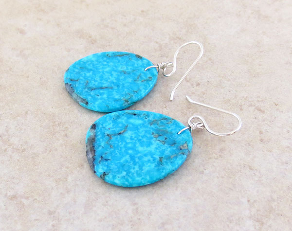 Image 1 of       Native American Made Turquoise Slab Earrings - 4532pl