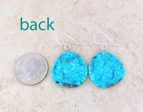Image 2 of       Native American Made Turquoise Slab Earrings - 4532pl