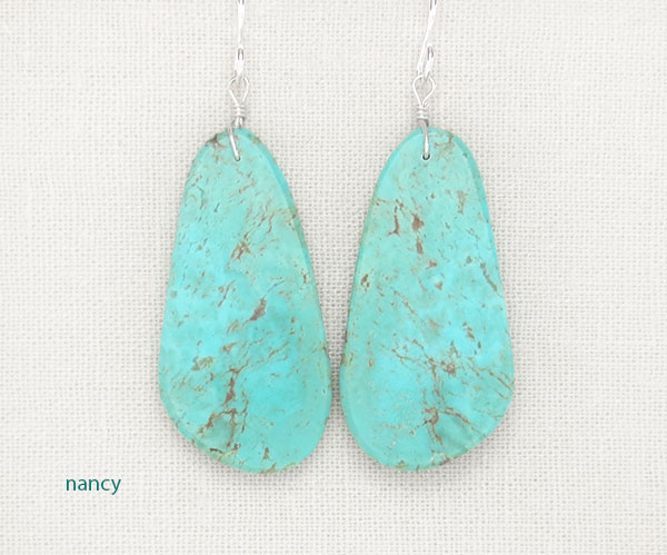 Image 0 of  Turquoise Slab Earrings Native American Artist Ronald Chavez  - 4843pl