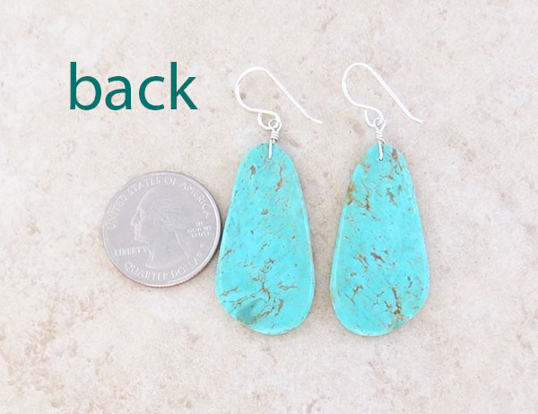 Image 2 of  Turquoise Slab Earrings Native American Artist Ronald Chavez  - 4843pl
