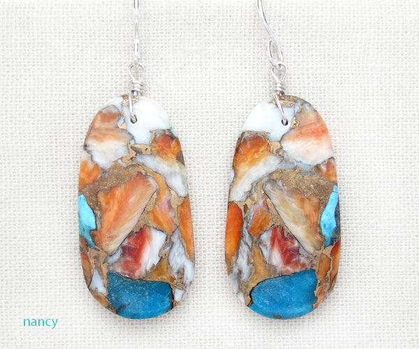 Mosaic Turquoise & Spiny Oyster Slab Earrings Santo Domingo - 4846pl
