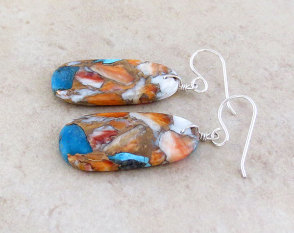 Image 1 of  Mosaic Turquoise & Spiny Oyster Slab Earrings Santo Domingo - 4846pl