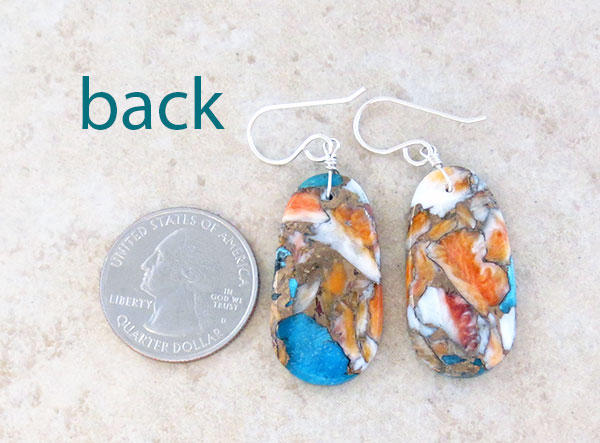 Image 2 of      Mosaic Turquoise & Spiny Oyster Slab Earrings Santo Domingo - 4846pl