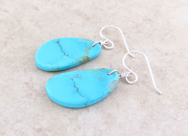 Image 1 of       Sky Blue Turquoise Slab Earrings Kewa Ronald Chavez - 4179pl