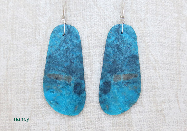 Image 0 of Large Turquoise Slab Earrings Native American Jewelry - 4149rio