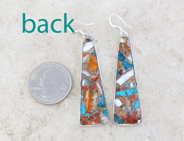 Image 2 of Long Mosaic Turquoise & Sterling Silver Earrings Kewa Made - 4287pl