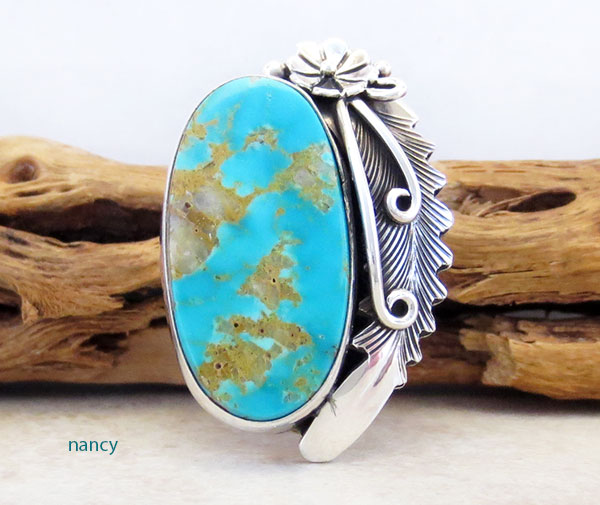 Peterson Johnson Turquoise & Sterling Silver Ring Size 7.5 - 4289pl