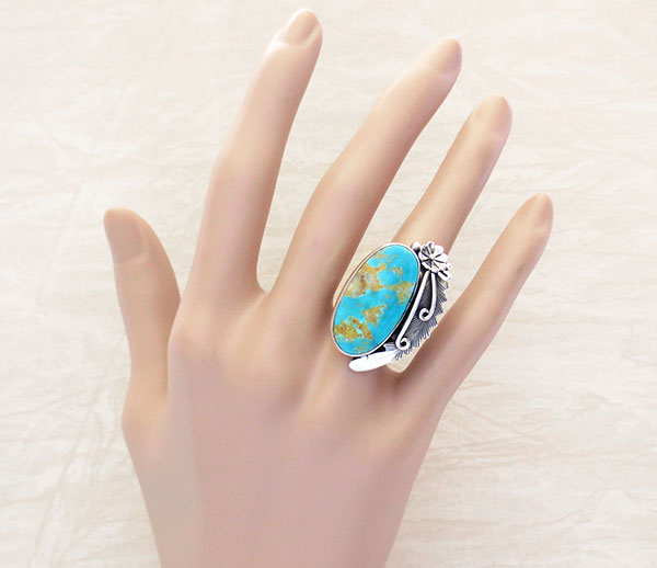Image 1 of       Peterson Johnson Turquoise & Sterling Silver Ring Size 7.5 - 4289pl
