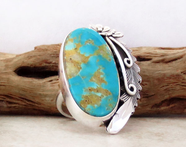 Image 3 of       Peterson Johnson Turquoise & Sterling Silver Ring Size 7.5 - 4289pl