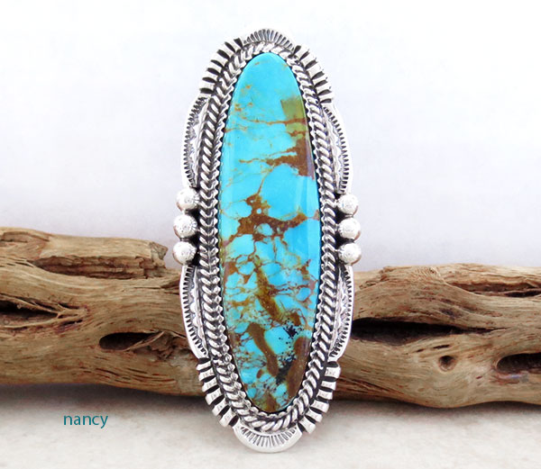 BIG Turquoise & Sterling Silver Ring Size 9.75 Native American Made - 4291pl