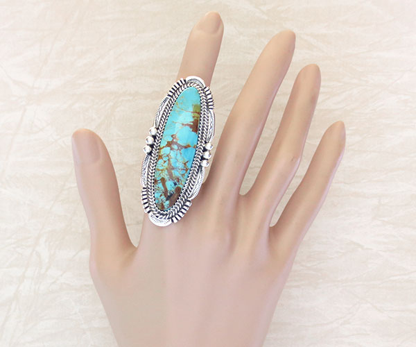 Image 1 of     BIG Turquoise & Sterling Silver Ring Size 9.75 Native American Made - 4291pl