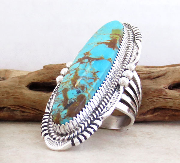 Image 3 of     BIG Turquoise & Sterling Silver Ring Size 9.75 Native American Made - 4291pl