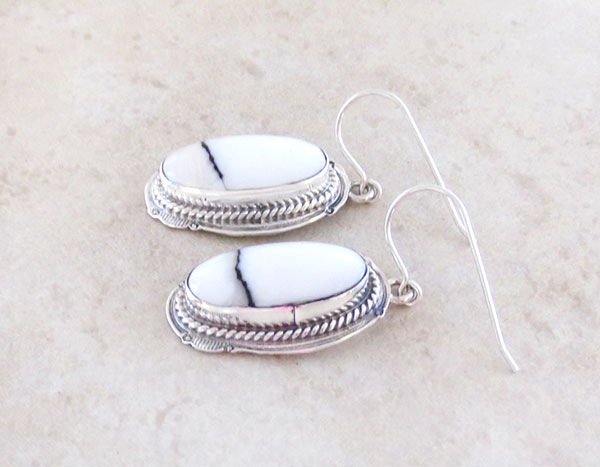 Image 1 of     White Buffalo Stone & Sterling Silver Earrings Native American Made - 4183sn