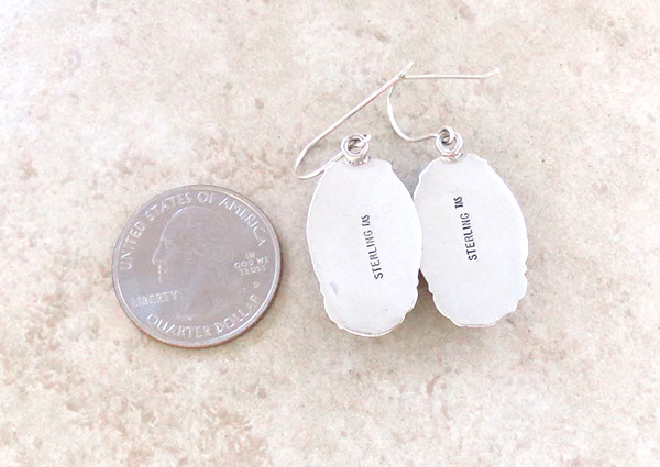 Image 2 of     White Buffalo Stone & Sterling Silver Earrings Native American Made - 4183sn