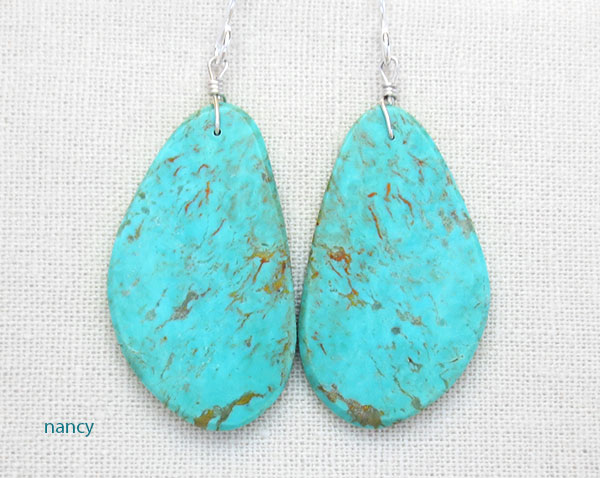 Turquoise Slab Earrings Native American Artist Ronald Chavez - 4187pl