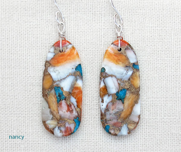 Image 0 of     Turquoise & Spiny Oyster Slab Earrings Native American Kewa Jewelry - 4182pl
