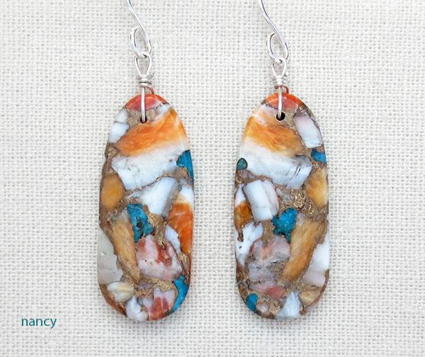 Mosaic Turquoise & Spiny Oyster Slab Earrings Ronald Chavez Kewa - 4182pl