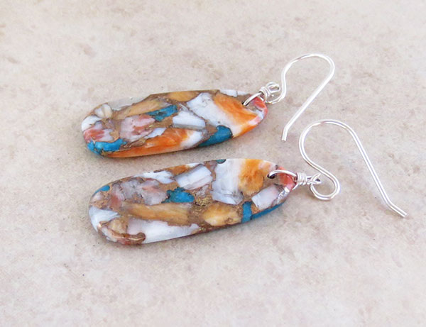 Image 1 of     Turquoise & Spiny Oyster Slab Earrings Native American Kewa Jewelry - 4182pl