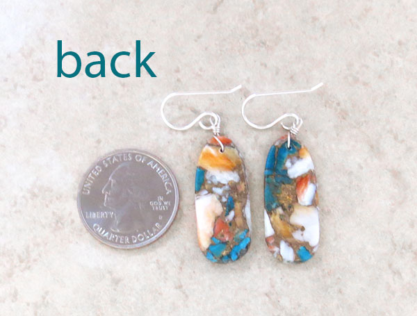 Image 2 of     Turquoise & Spiny Oyster Slab Earrings Native American Kewa Jewelry - 4182pl