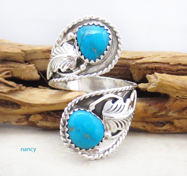 Turquoise & Sterling Silver Adjustable Wrap Ring Navajo - 1268rb