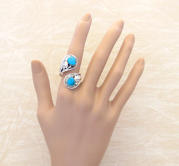 Image 2 of          Turquoise & Sterling Silver Adjustable Wrap Ring Navajo - 1268rb