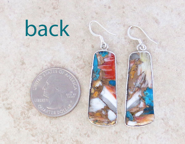 Image 2 of      Mosaic Turquoise & Sterling Silver Earrings Kewa Made - 4849pl