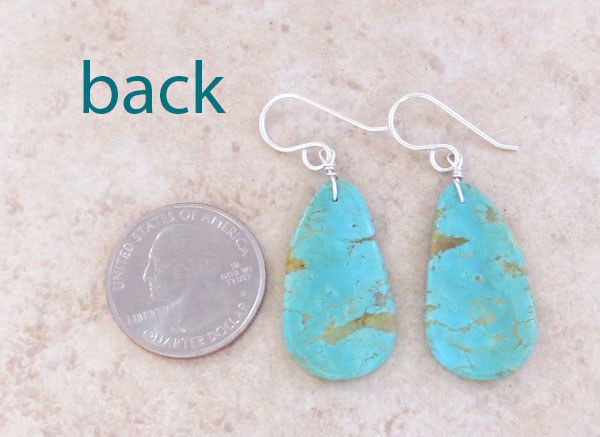 Image 2 of       Turquoise Slab Earrings Native American Artist Ronald Chavez - 4718pl