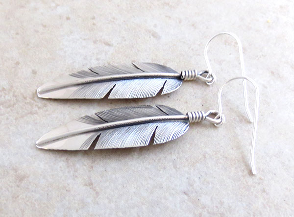 Image 1 of       Classic Sterling Silver Feather Earrings Lena Platero Navajo - 4851sn