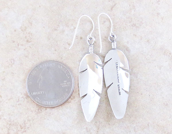 Image 2 of       Classic Sterling Silver Feather Earrings Lena Platero Navajo - 4851sn