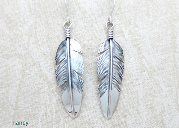 Image 0 of     Classic Sterling Silver Feather Earrings Lena Platero Navajo - 4851sn