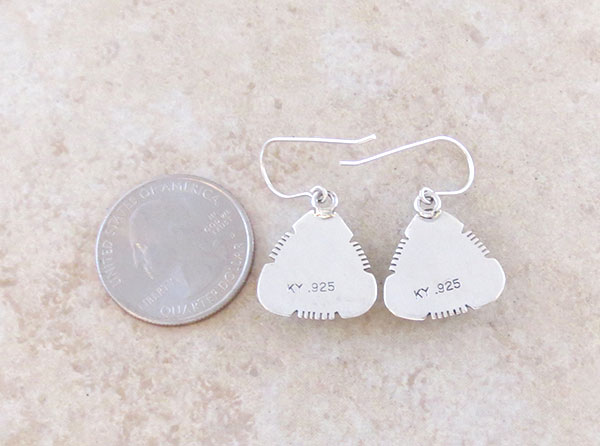 Image 2 of     Native American White Buffalo Stone & Sterling Silver Earrings - 4850sn