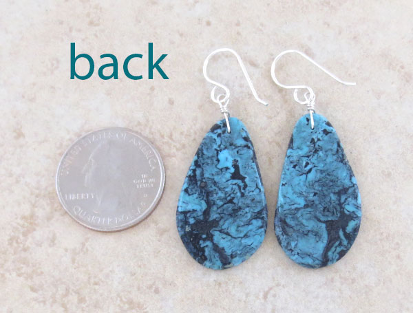 Image 2 of     Blue & Black Turquoise Slab Earrings Native American Made - 4852pl