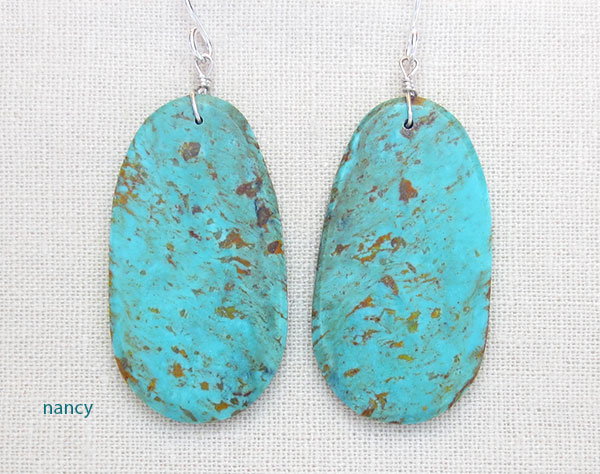Image 0 of   Big Turquoise Slab Earrings Native American Artist Ronald Chavez - 4620pl