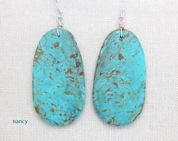 Image 0 of   Big Turquoise Slab Earrings Native American Artist Ronald Chavez - 4620pl