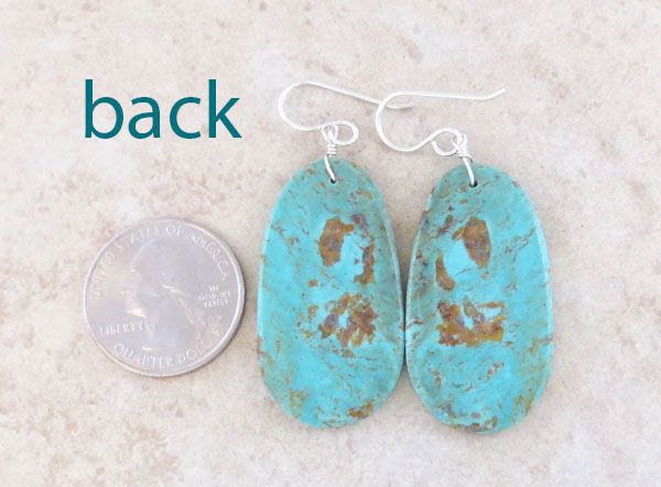 Image 2 of   Big Turquoise Slab Earrings Native American Artist Ronald Chavez - 4620pl