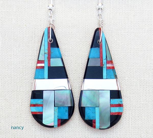 Image 0 of      Turquoise Jet & Sterling Silver Earrings Daniel Coriz Kewa - 4856rio